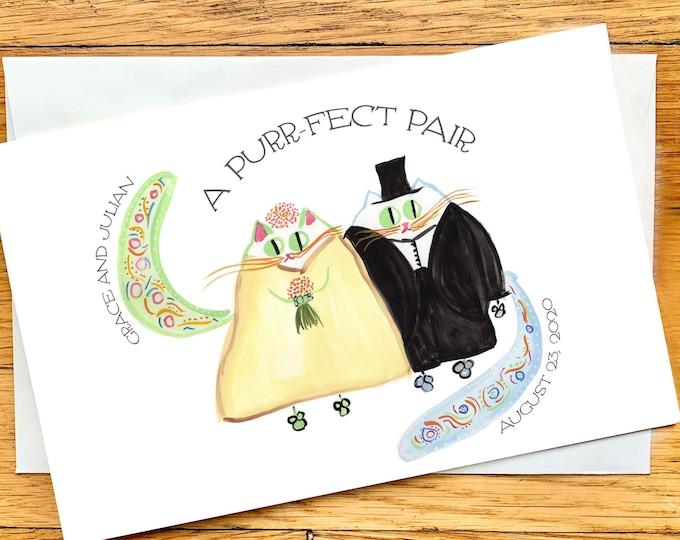 CUSTOM Wedding Card - Cat Bride and Groom Card - Original Art Print