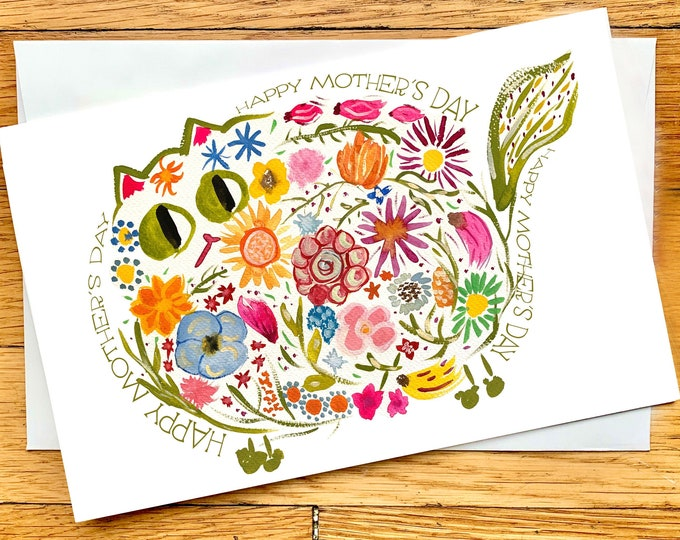 Mother's Day Card - Mid-century Modern Retro Flower Cat