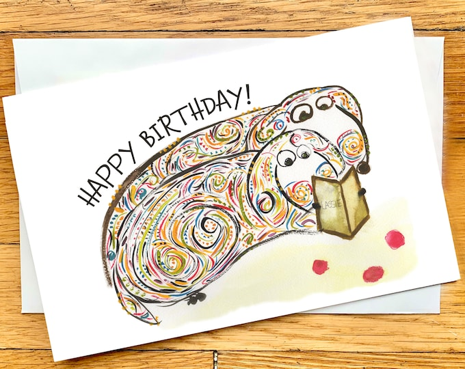 Happy Birthday Dog Lover - Dachsund Bookworms Reading Lassie - Funny Birthday Card - CUSTOM Options