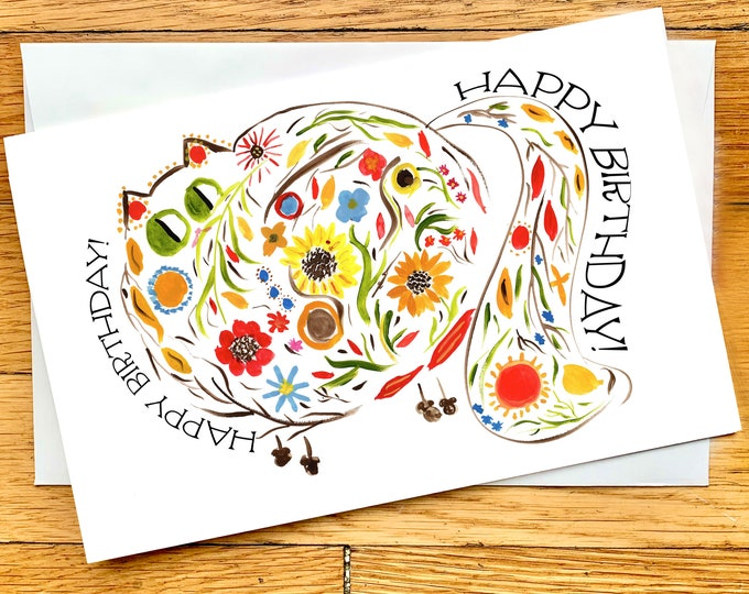 Birthday Card - Fall Flower Cat With Fluffy Tail  - Cute Cat Card - CUSTOM Message