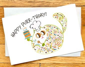 Birthday Card - Happy Purr-thday - Funny Cat Lover Card - Baker Birthday Card - CUSTOM Options