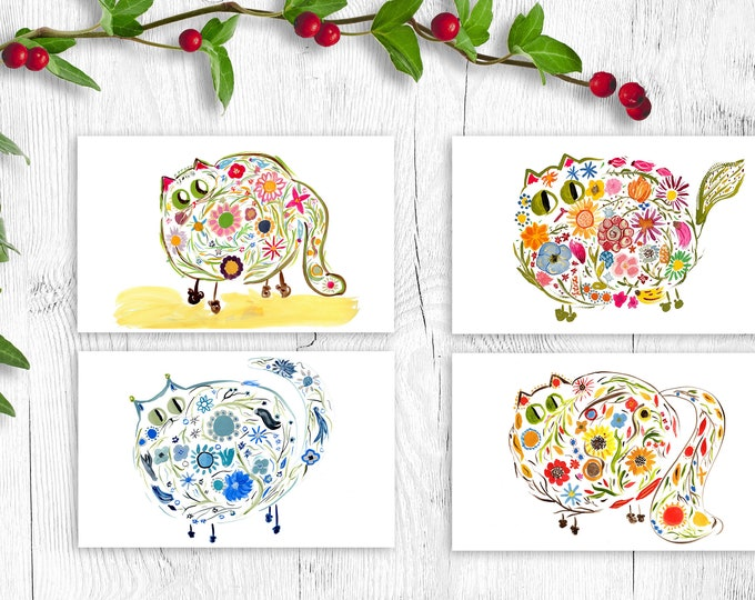 Flower Power Kitties Gift Card Set - 4 or 8 Blank - Mother's Day, Christmas, Bridesmaid Gift, Anniversary
