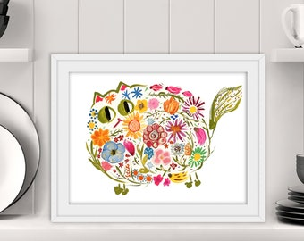 Mid-century Modern Retro Cat Print - Flower Power Kitty