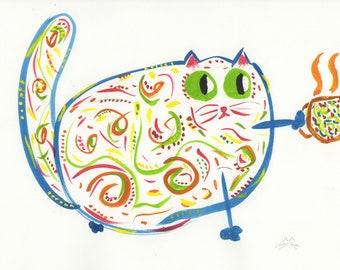 Theda whimsical coffee cat blue orange animal art print