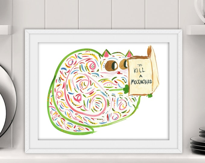 """Funny Wall Art - Cat Reading """"To Kill a Mockingbird"""" - Original Art Print - Cat Or Book Lover Gift - Name: """"Miss Maples""""""""Miss Maples"""""""""""