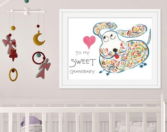 Cute Custom Art Print - Nursery Room Print Dog - Original Watercolor Print - Kid's Room Wall Decor