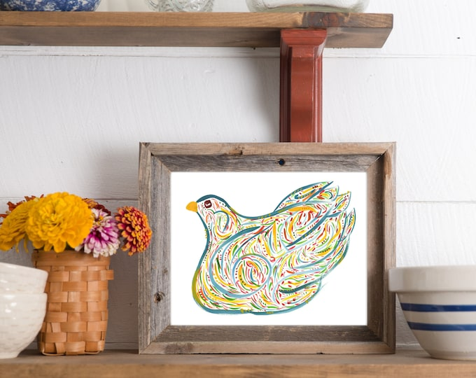 Lorna - Farmhouse Chicken Print - Colorful Whimsical Watercolor Print