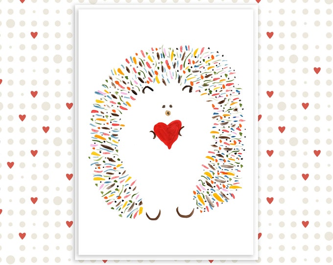 """Cute Sweet Hedgehog Card - Mother's Day, Birthday, Valentine's - Personalized Options - Name: """"Leopold"""""""