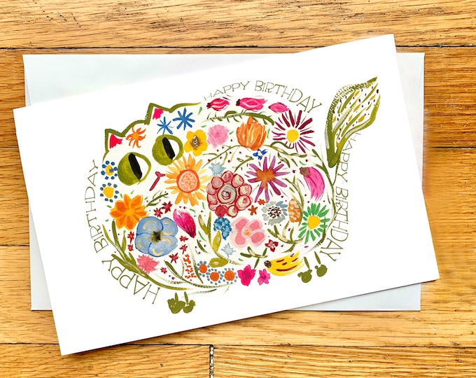Digital Birthday Card - Printable Card - Mid-century Modern Retro Flower Cat - Cute Cat Card - Original Watercolor Print