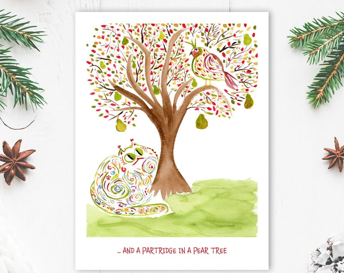 Funny Custom Christmas Card - Single or Sets - Partridge In A Pear Tree - Cat Lover Card