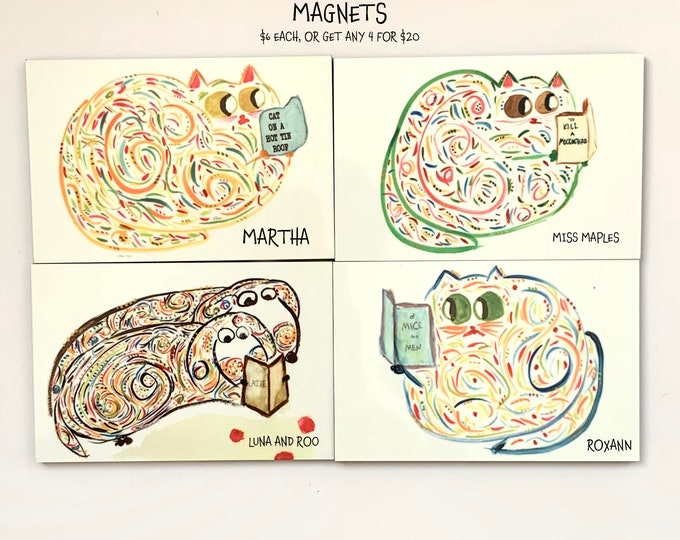 Reading Animals - Cute Magnets For Cat/Dog Lovers - Collectible Unique Magnets - Original Art