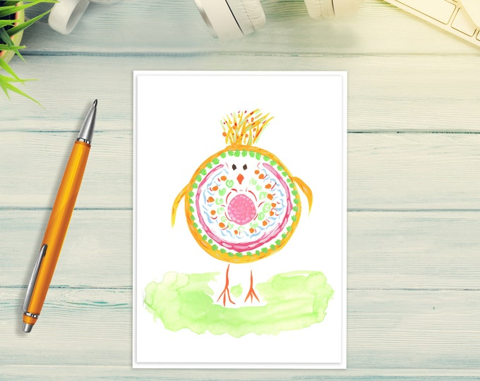 Baby Chick Card - Birthday, Mother's Day, Easter, Baby Shower - Cute Original Art Card