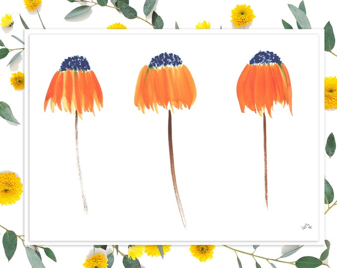 Blank Card With Orange Coneflowers - Card for Mother's Day, Birthday, Thank You, All Occasion - Custom Options