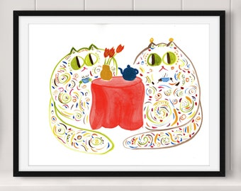 "Original Hand-Painted Watercolor - ""The Misses Mosses At Tea Time"" - Hand-Signed and Dated, 11x14, 140-lb. Watercolor Paper"