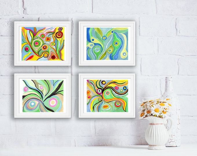 Original Hand Painted Art Prints - Set of 4 - Abstract Watercolors - Mother's Day, Birthday, Anniversary Gift