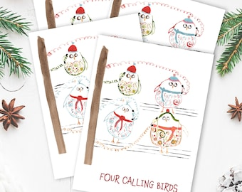 Christmas Card Set- Four Calling Birds - Funny Christmas Card - Bird Lover Holiday Card - Twelve Days of Christmas Card
