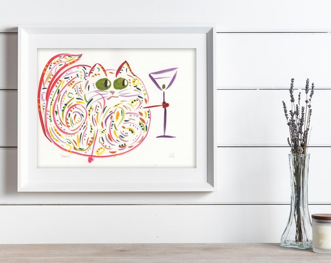 Funny Cat Print - Original Watercolor Print - Cat Wall Decor - Gift For Cat Lover