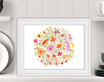 Pink, Orange, Yellow Vintage Style 1960s 1970s Hand Painted Floral Watercolor Print - Retro Modern Home Office Decor