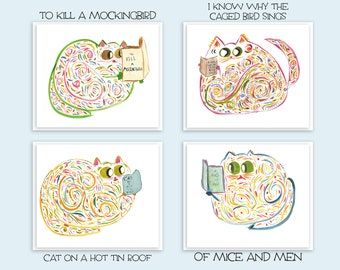 Bookworm Cats - Gift Card Set - Mother's Day, Christmas, Birthday Gift - Cat Lover Gift - Set of 4 or 8 Blank Cards