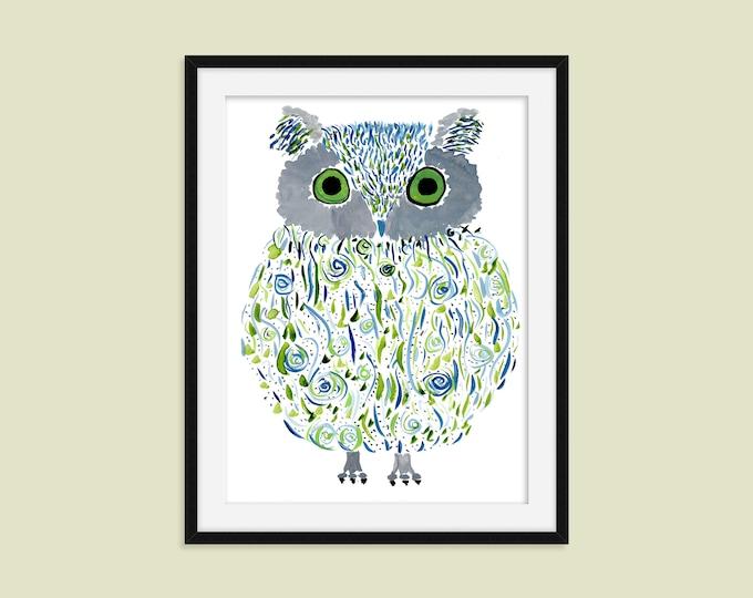 "Owl Print - Original Watercolor Art Print - Magical Owl Wall Decor - Name: ""Ollie"""