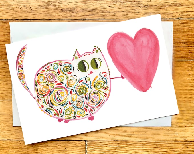 Custom Cat Card for Birthday, Anniversary, Graduation - Sweet, Whimsical, Colorful Cat with Heart (Clara) - Large Card