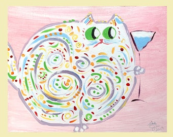 "One-Of-A-Kind Cat Art - Original Acrylic Painting On Birchwood Panel - Mother's Day, Birthday, - Name: ""Clarissa"""