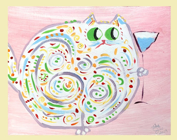 """One-Of-A-Kind Cat Art - Original Acrylic Painting On Birchwood Panel - Mother's Day, Birthday, - Name: """"Clarissa"""""""