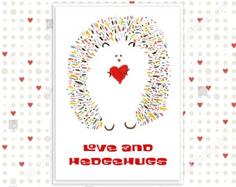 Cute Funny Hedgehog Card - Love and Hedgehugs - Valentine's Card - Personalized Options