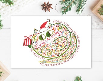 Digital Christmas Card - Ho Ho Ho Cat - Cat Lover Holiday Card - Cute Christmas Greeting - Printable Card