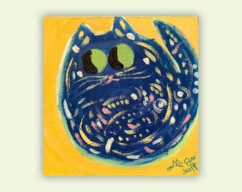 "One-Of-A-Kind Cat Art - Original Oil Painting On Birchwood Panel - Birthday, Baby Shower, Housewarming Gift - Name: ""Vincent"""