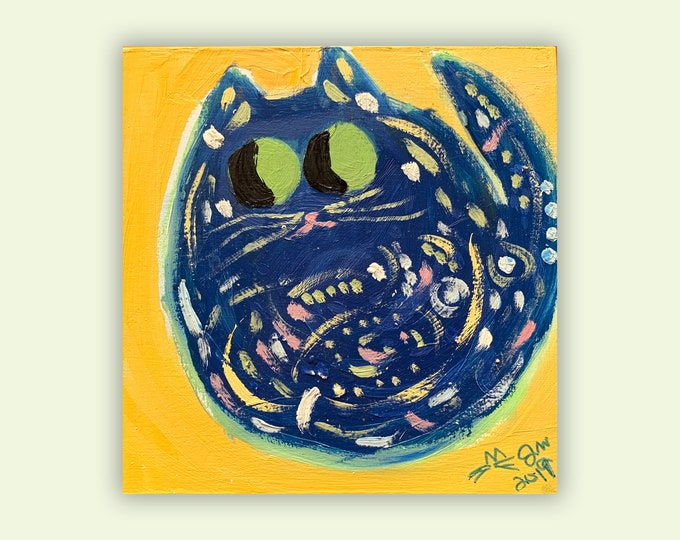 """One-Of-A-Kind Cat Art - Original Oil Painting On Birchwood Panel - Birthday, Baby Shower, Housewarming Gift - Name: """"Vincent"""""""