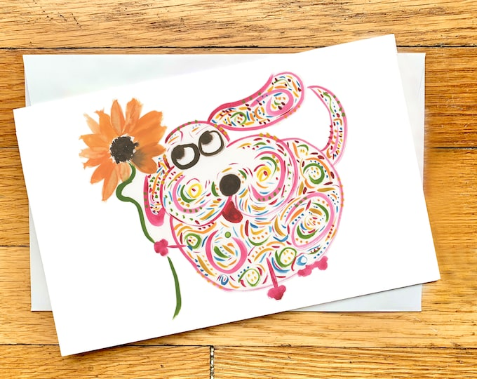 Whimsical Pink Dog With Orange Flower Greeting Card - Large High-Quality Card - Blank All-Occasion Card - Personalizable