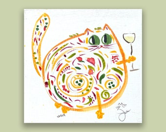 "One-Of-A-Kind Cat Art - Original Watercolor On Birchwood Panel - Mother's Day, Birthday, Anniversary Gift - Name: ""Henrietta"""