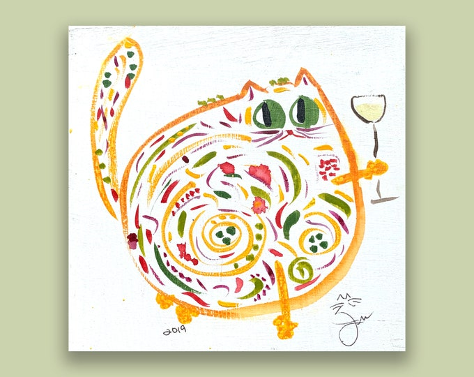 """One-Of-A-Kind Cat Art - Original Watercolor On Birchwood Panel - Mother's Day, Birthday, Anniversary Gift - Name: """"Henrietta"""""""