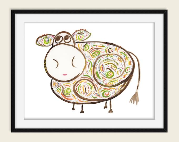 Rosie whimsical brown cow watercolor art print