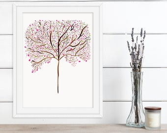 Violet, Pink, Brown Mid Century Modern Hand Painted Watercolor Redbud Tree Print