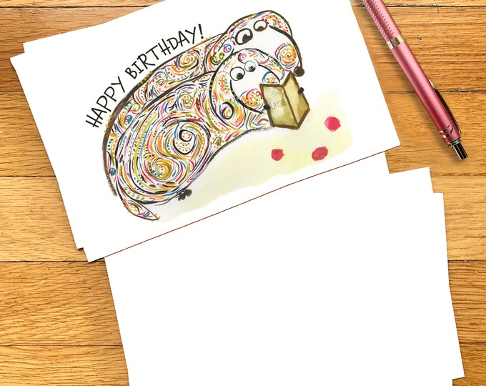Happy Birthday Card - Printable Download - Cute Dog Lover Card - Dachsund Bookworms Reading Lassie - Funny Birthday Card