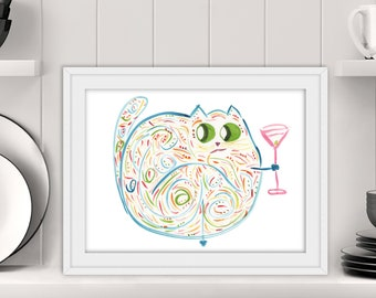 "Cat With Cocktail - Quirky Whimsical Watercolor Print - Original Cat Art - Name: ""Hattie"""