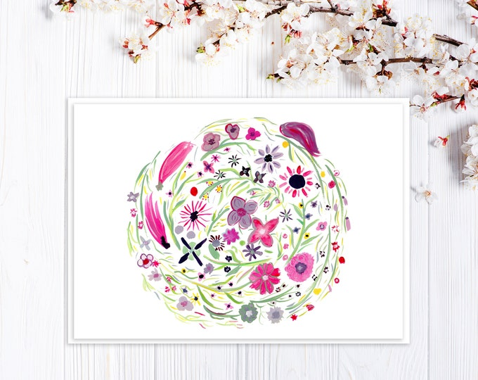Card for Mother's Day, Birthday, Thank You - Purple and Pink Flowers Wreath Card - Custom Options - Mid-Century Vintage Design