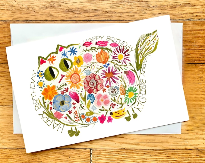 Birthday Card - Retro Flower Cat - CUSTOM Message - Cute Cat Card - Original Art Card