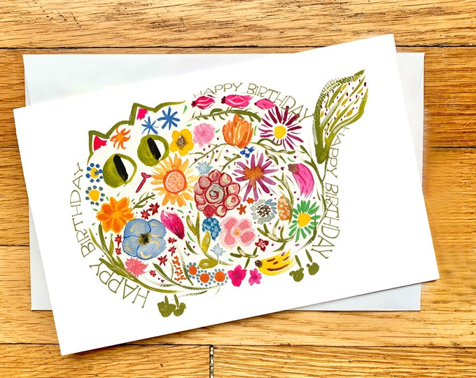 Birthday Card - Mid-century Modern Retro Flower Cat - CUSTOM Message