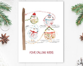 Funny Digital Christmas Card - Four Calling Birds - Digital Download - Bird Lover Holiday Card - Twelve Days of Christmas Card