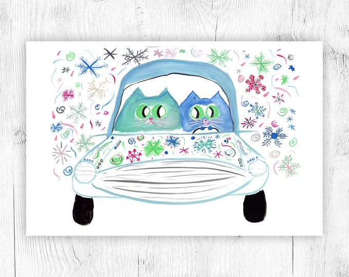 Road Trip! - Cat Lover Card - All Occasion - Birthday, Wedding, Holiday, Congratulations - CUSTOM Options
