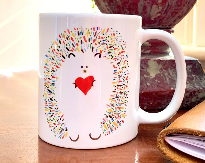 Love and Hedgehugs Coffee/Tea Mug - Cute Whimsical Hedgehog (Leopold) Holding Heart - FREE Shipping
