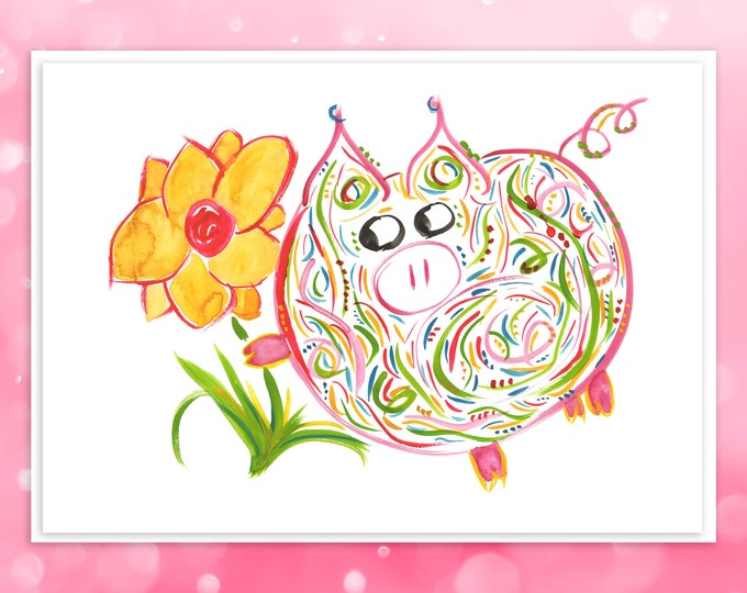 Petunia Pig Greeting Card - Mother's Day, Birthday, Valentine's, Thank You - Whimsical Pink Pig