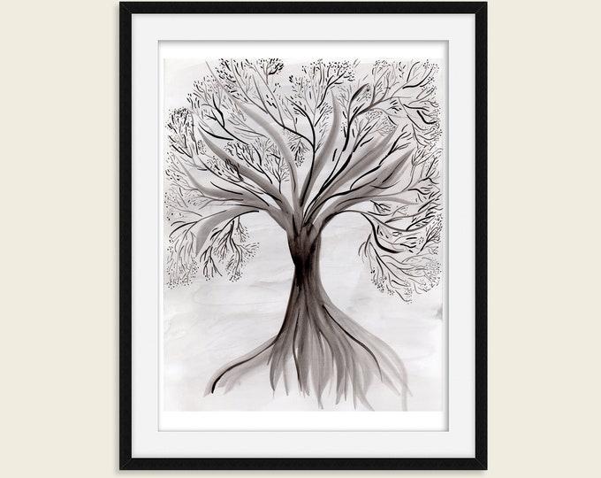 Original Art Print - Black and White Tree - Modern Hand Painted Watercolor Print