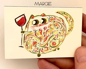 Cat With Wine Magnet - Stocking Stuffer - Cute Magnet For Cat Lovers - Collectible Unique Magnet - Original Art