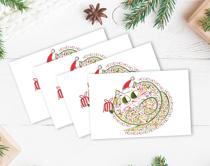 Cat Card Set - Christmas Card - Cat Lover Holiday Card - Set of 4 or 10