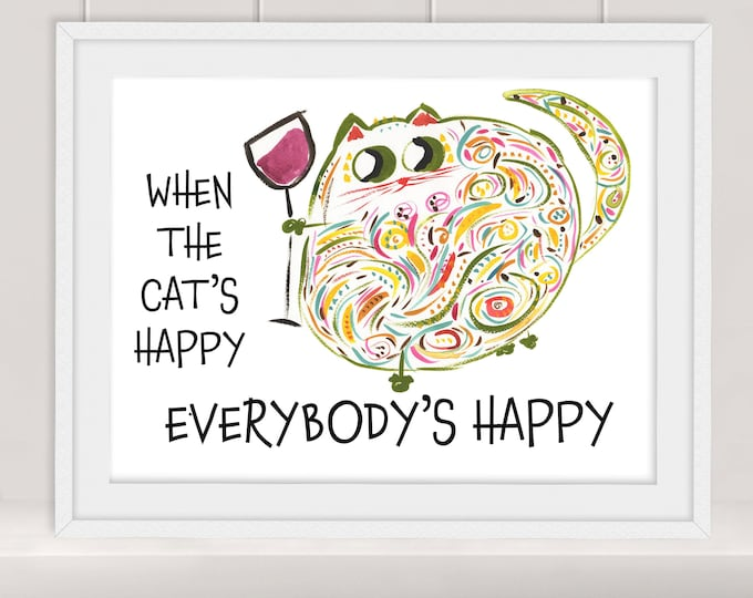 Margie cat with red wine print - personalized contemporary fun colorful whimsical watercolor