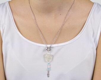 White seaglass pendant «Open-Heart»